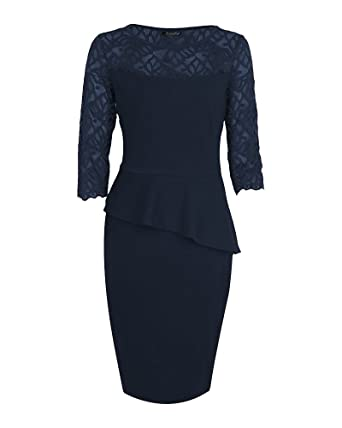 ZhuiKun Femme Midi Moulante Bodycon Dress Casual Robe Crayon 3 4 Manches Bleu  Foncé S 2d87b6c5a63