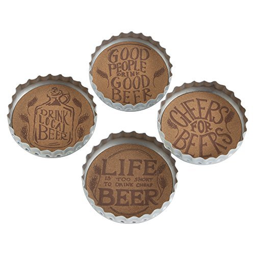 TRADE ASSOCIATE GROUP Bottle Cap Beer Coaster Set/4, 1 EA