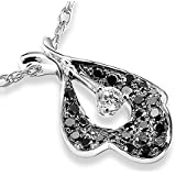 Round Brilliant Black and White Diamond Pendant 1/3 carat (ctw) in 14K White Gold