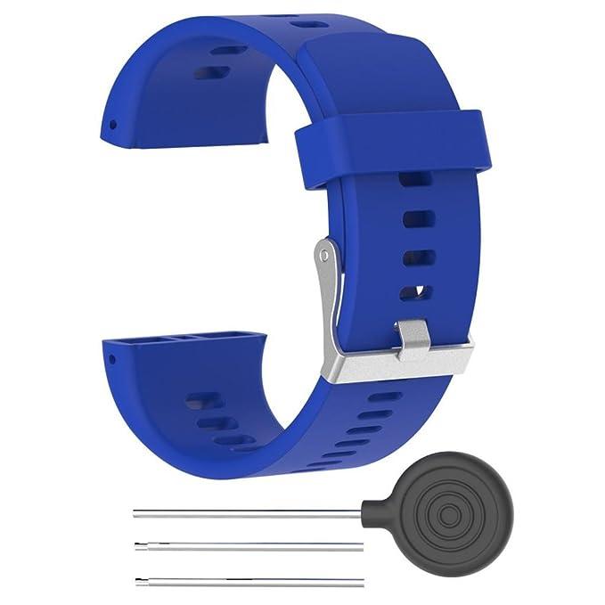 Armband für Polar V800, FNKDOR Silikon Gummi Band Ersatzarmband Uhrenarmband Für Polar Pulsuhr V800, 160-220MM (Blau)