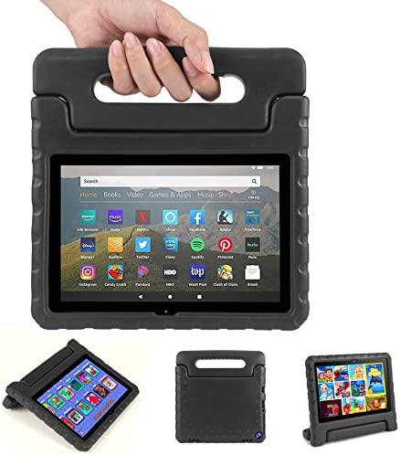 Blosomeet EVA Case Compatible with Fire HD 8 and HD 8 Plus tenth Generation 2020 Release, Lightweight Shockproof Rugged Protective Tablet Cover with Handle for Kids, Black.