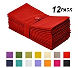 Cotton Craft Napkins, 12 Pack Oversized Dinner Napkins 20x20 Tomato, 100% Cotton, Tailored with Mitered corners and a generous hem, Napkins are 38% larger than standard size napkins