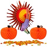 thanksgiving table centerpieces MISS FANTASY Thanksgiving Decorations Tissue Turkey Centerpiece Honeycombs for Table with 2 PC Tissue Pumpkin and 150 PC Maple Leaf Good for Thanksgiving Party (Turkey)