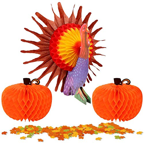 MISS FANTASY Thanksgiving Decorations Tissue Turkey Centerpiece Honeycombs for Table with 2 PC Tissue Pumpkin and 150 PC Maple Leaf Good for Thanksgiving Party (Turkey)