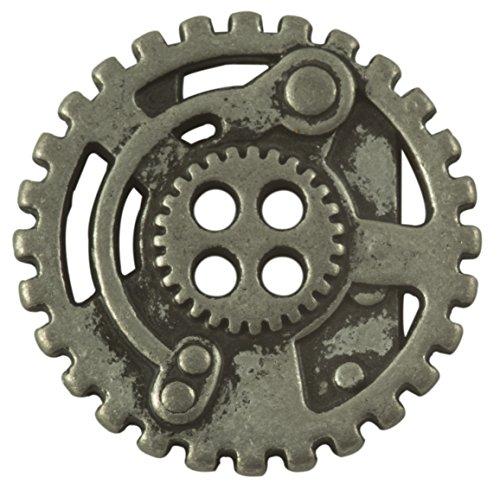 Steampunk Gears Button - Nickel Finish - 7/8