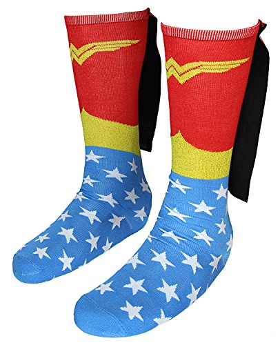 DC Comics Wonder Woman Knee High Shiny Caped Socks]()