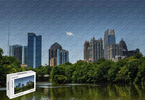 500 Piece Jigsaw Puzzle - Beautiful City in Georgia Atlanta Wood-Material Large Size,20.6 X 15.1 Inch