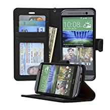 Navor Folio Leather Wallet Case for HTC One M8 With Removable Strap (Black)