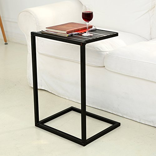 Bedside Tray Table (MyGift Slide Under Sofa Side Table, Metal Slats Snacks and Laptop Tray, Black )