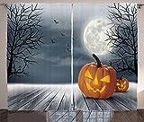 Ambesonne Halloween Curtains, Cold Foggy Night Dramatic Full Moon Pumpkins on Wood Board Trees Print, Living Room Bedroom Window Drapes 2 Panel Set, 108 W X 84 L inches, Grey Orange Black