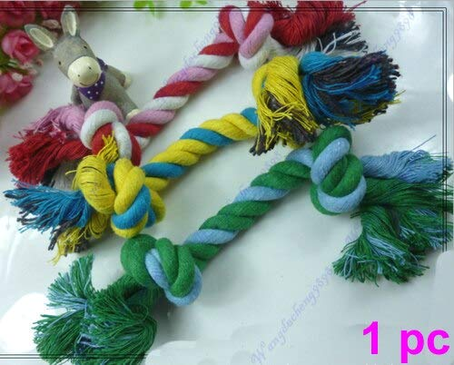 JohnnyBui - Puppy Dog Pet Toy Cotton Braided Bone Chew Knotted Rope d Lovable