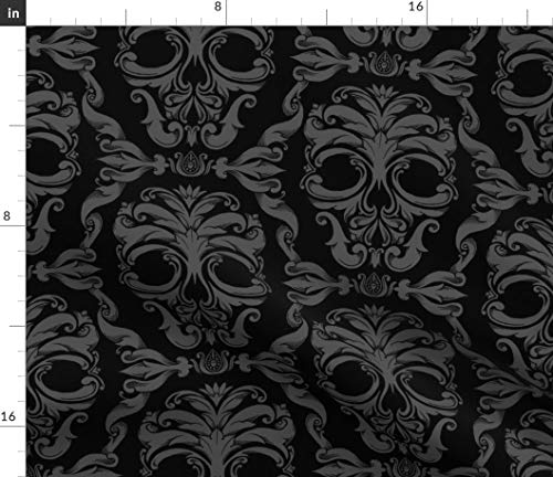 Spoonflower Halloween Fabric - Skull Victorian Damask French Gothic Spooky by Thecalvarium Printed on Fleece Fabric by The Yard