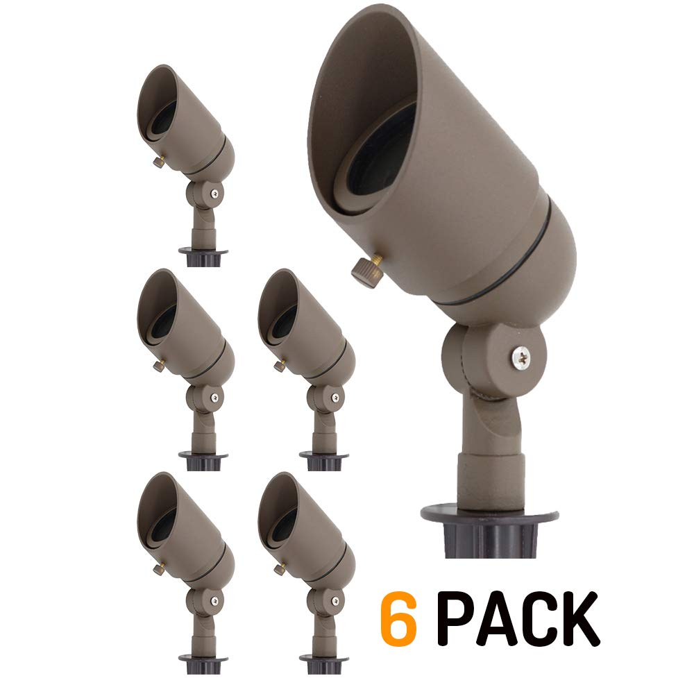 Lumina Low Voltage Landscape Lights Cast-Aluminum Waterproof Outdoor Spotlights for Walls Trees Flags Decorative Light with Warm White 4W MR16 LED Bulb and ABS Ground Stake Bronze SFL0104-BZLED6 (6PK)
