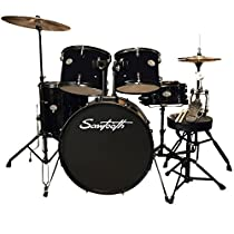 Rise by Sawtooth ST-RISE-DS-BLK Full Size Student Drum Set with Hardware & Beginner Cymbals, Pitch Black