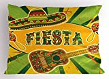 Lunarable Quote Pillow Sham, Mexican Fiesta Party Invitation Sombrero and Music Instruments Maracas and Guitar, Decorative Standard King Size Printed Pillowcase, 36 X 20 inches, Multicolor