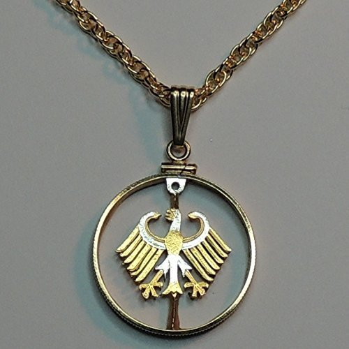German Eagle - 2 Mark - Beautifully Hand Cut out & 2-toned(Uniquely Hand done) Gold on Silver coin Necklaces for women men girls girlfriend boys teen girls (Out Pendant Eagle Cut)