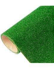 Yamix Model Grass Mat Artificial Train Grass Mat  Turf Lawn Paper for DIY Train Railroad Scenery Landscape Decoration, 41 x 100cm / 16.1 x 39.4 inch (Dark Green)
