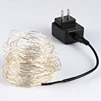 String Lights,100 Leds 33ft/10M Indoor Decorative Lights Copper Wire Lights For Seasonal Decorative Christmas Home Holiday Bedroom KTV-Warm White,UL 5v Power Adapter