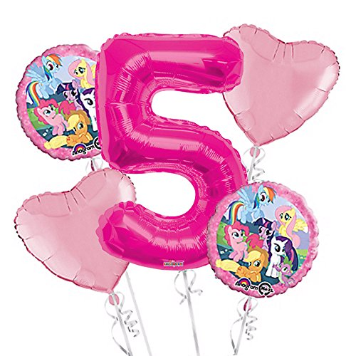 My Little Pony Balloon Bouquet 5th Birthday 5 pcs - Party Supplies -