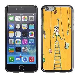 TopCaseStore / la caja del caucho duro de la cubierta de protección de la piel - Cat Painting Art Yellow - Apple iPhone 6 Plus 5.5