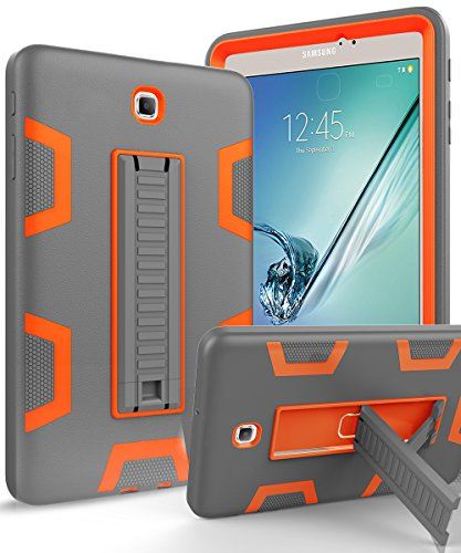 Galaxy Tab S2 8.0 Case,TOPSKY[Kickstand Feature]Three Layer Hybrid Heavy Duty Full-Body Shockproof Anti-Slip Protective Case for Samsung Galaxy Tab S2 8.0 inch,Grey/Orange