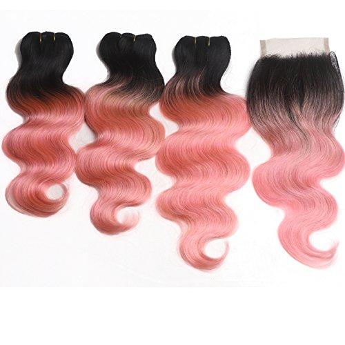 Hwright Hair Brazilian Body Wave 3 Bundles with a Closure Brazilian Body Wave Human Hair Extensions With Free Part Clsoure (14 16 18 +12 inch free part closure, 1B/Rose Gold)