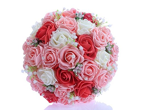 Red Flowers Pink Wedding (SISJULY Lace Pearl Rose Holding Wedding Bridesmaid Bouquet with Flower(Red+Pink+White))