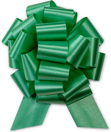 (Holiday Green Pull String Bows - 8 Inch Wide 20 Loops Large (2  and 1/2 Inch Ribbon) Set of 10)