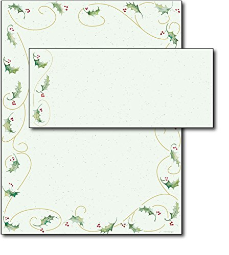 Holly Bunch Holiday Letterhead & Envelopes - 40 Sets