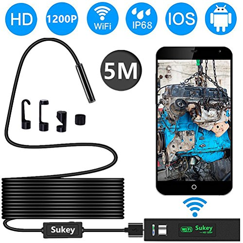 Endoscope iPhone, Sukey Wireless Endoscope Inspection Camera Borescope iPhone 2.0MP HD Waterproof IP68 WiFi Borescope Semi-Rigid Snake Camera iPhone, Android, iOS Smartphone, Tablet, PC (16.5FT) by Sukey