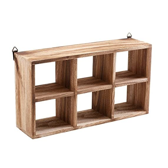 MyGift Wall Mounted 6 Compartment Paulownia Wood Shadow Box, Freestanding Display Shelf - A small wall mounted or freestanding shelf rack made of Paulownia wood and featuring 6 individual compartments. Each compartment is ideal for displaying small items such as bonsai, collectibles, memorabilia, and knick knacks. Includes 2 triangle D-ring mounting tabs (hardware not included). - wall-shelves, living-room-furniture, living-room - 51ZfhK4YeqL. SS570  -