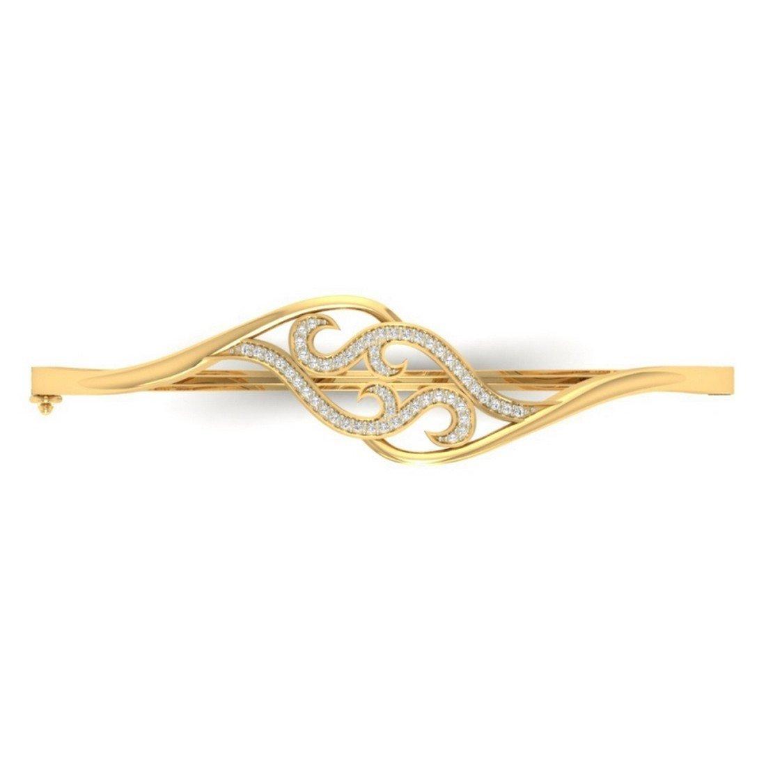 HallMarked bangle-bracelets Size 0.27 cttw Round-Cut-Diamond 14K Yellow Gold 10 inches IJ| SI