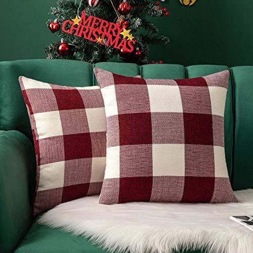 MIULEE Pack of 2 Classic Retro Checkers Plaids Linen Soft Soild Decorative Square Throw Pillow Covers Home Decor Design…