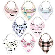 Baby Bandana Drool Bibs Gift Set For Girls, 8 Pack Organic Cotton With Snaps  The Kissy Face Set  By California Blue