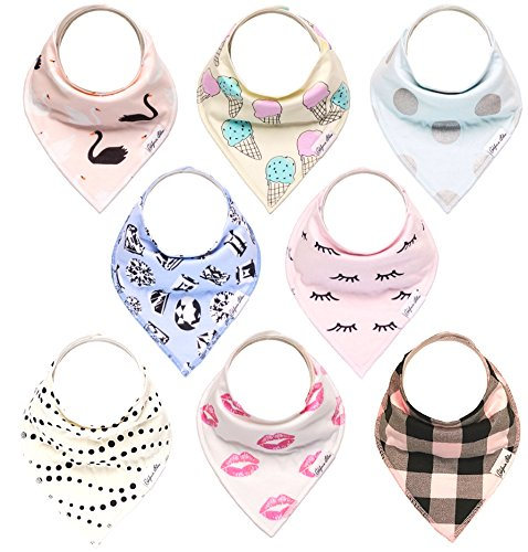 Baby Bandana Drool Bibs Gift Set For Girls, 8 Pack Organic Cotton With Snaps