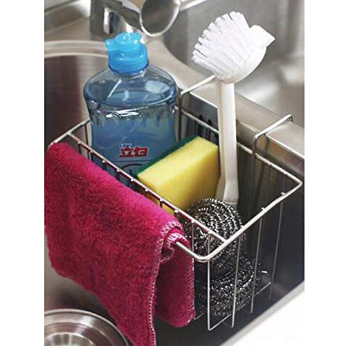 TuuTyss Stainless Steel Large Capacity Hanging Sink Caddy Organizer Sponge Holder Rack for Kitchen with Dish Cloth Rod ()