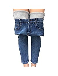 Yehopere Womens Winter Jeans Thick Skinny Pant Fleece Lined Slim Stretch Warm Jeggings