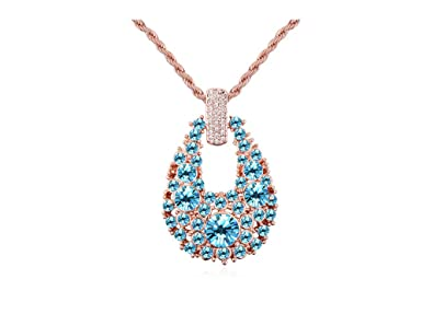 Amazon austrian crystal rose gold plated raindrop pendant austrian crystal rose gold plated raindrop pendant necklace blue aloadofball Gallery