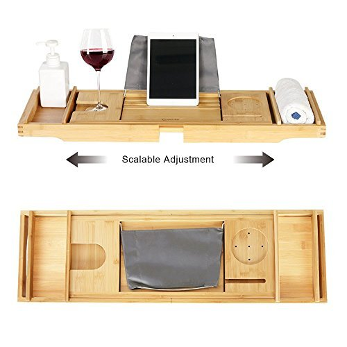 eclife Bamboo Bathtub Caddy Tray Natural Bamboo Frame Holder Free Soap Holder Integrated Tablet Luxury Spa with Folding Sides Natural Ecofriendly Wood, Smartphone Wine Holder Book Holder H01N by eclife (Image #4)
