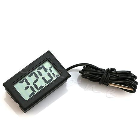 LANDUM Termómetro Electrónico para Refrigerador Acuario Impermeable Sonda Digital Display
