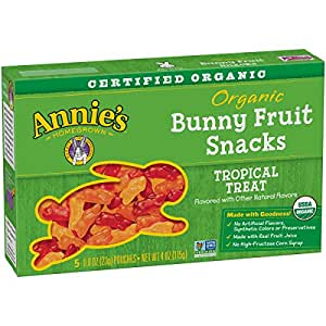 Annie's Organic Bunny Fruit Snacks, Tropical Treat, 60 Pouches, 0.8 oz (Pack of 12)