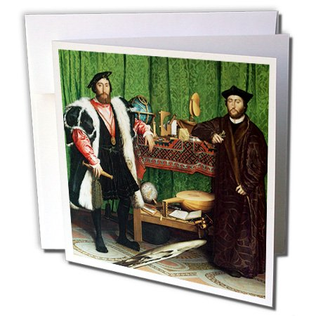 3dRose The Ambassadors 1553 Hans Holbein The Younger 6 x 6 Inches Greeting Cards, Set of 12 (gc_173831_2)