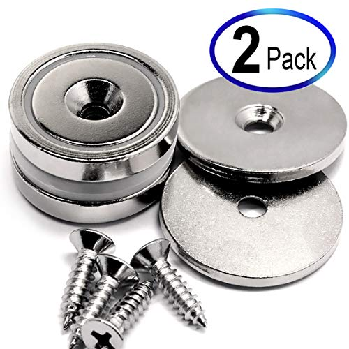 88 LB Each 2 Pack Super Powerful Cup Neodymium Magnets w/ #10 Countersunk Hole Plus Matching Strikers & Screws. Made of Rare Earth Magnets - Great Round Base Mounting Magnets Very Strong Holding Power ()
