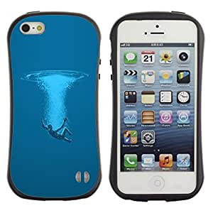 "Pulsar iFace Series Tpu silicona Carcasa Funda Case para Apple iPhone SE / iPhone 5 / iPhone 5S , Swim Océano Sea Man Deep Blue Arte Simbólico"""