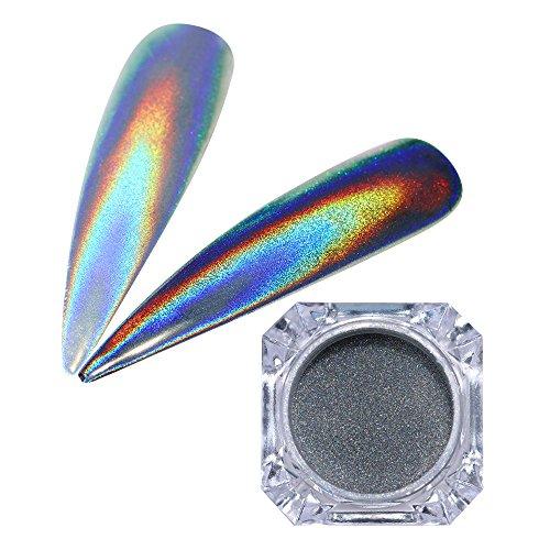 Holographic Glitter Nail (Born Pretty 1Gram Holographic Laser Powder Nail Glitter Rainbow Pigment Manicure Chrome Pigments)