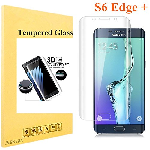 Galaxy S6 Edge Plus Tempered Glass, Screen Protector Asstar [Full Coverage] 9H 0.2mm Thinest Shatterproof Fingerprint-free Bubble free Film for Samsung Galaxy S6 Edge + (Clear)
