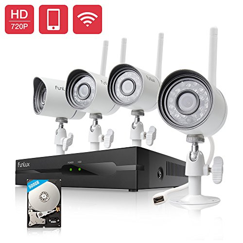Funlux 4CH NVR 720p HD 1.0 Megapixel 1280 x 720 Wireless Security Camera System Outdoor Indoor 500GB Hard Drive