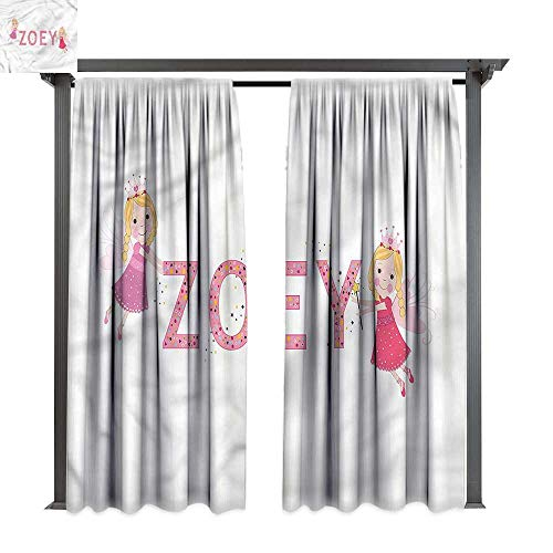 cobeDecor Thermal Insulated Drapes Zoey Feminine Baby Girl Name for Lawn & Garden, Water & Wind Proof W108 xL108