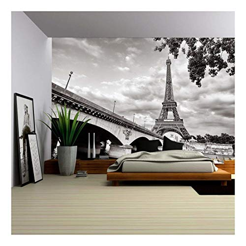 wall26 - Eiffel Tower View from Seine River - Removable Wall Mural | Self-Adhesive Large Wallpaper - 100x144 inches