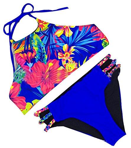 GAGA Women's Halter Printed 2 Pieces Swimwear Bathing Suit 1 - Suit Gaga Lady Bathing